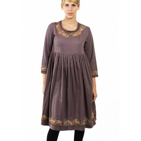 Robe ample coton broderies ethnique chic for Miroir 60x150